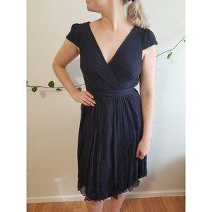 JCrew Newport Navy Mirabelle silk chiffon dress